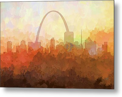 Metal Print featuring the digital art St Louis Missouri Skyline by Marlene Watson