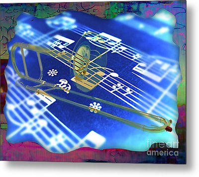 Trombone Collection Metal Print by Marvin Blaine