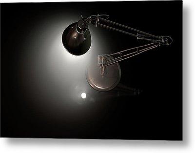 Vintage Copper Desk Lamp Metal Print by Allan Swart