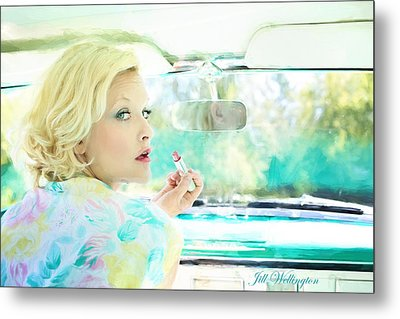 Vintage Val In The Turquoise Vintage Car Metal Print by Jill Wellington