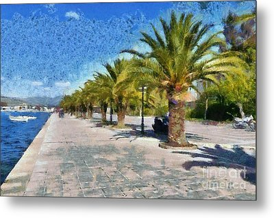 Walkway In Nafplio Town Metal Print by George Atsametakis