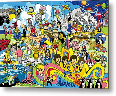 70 Illustrated Beatles' Song Titles Metal Print by Ron Magnes