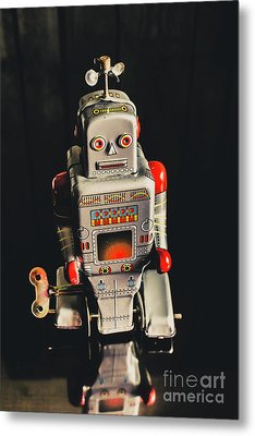 70s Mechanical Android Bot  Metal Print
