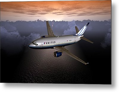 Metal Print featuring the digital art 737 Ual 06 by Mike Ray