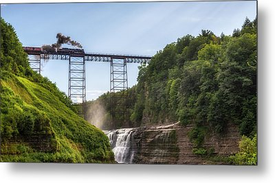 Metal Print featuring the photograph 765 Over Upper Falls by Mark Papke