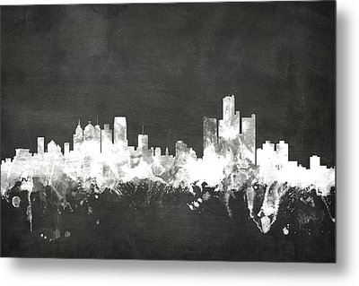 Detroit Michigan Skyline Metal Print by Michael Tompsett