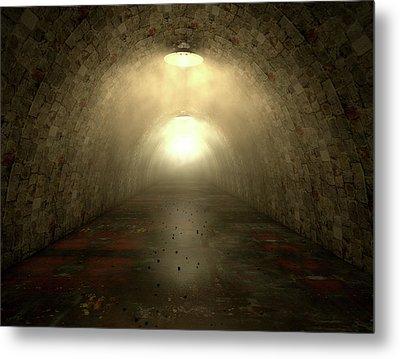 Long Tunnel Lights Metal Print