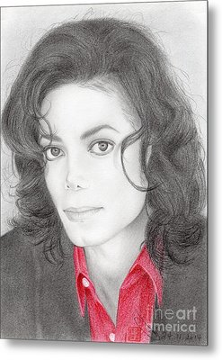 Metal Print featuring the drawing Michael Jackson #two by Eliza Lo
