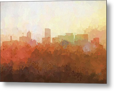 Metal Print featuring the digital art Portland Oregon Skyline by Marlene Watson