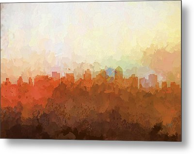 Metal Print featuring the digital art San Diego California Skyline by Marlene Watson