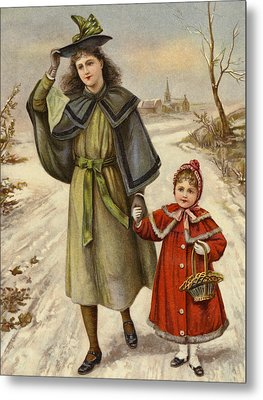 Vintage Christmas Card Metal Print by English School