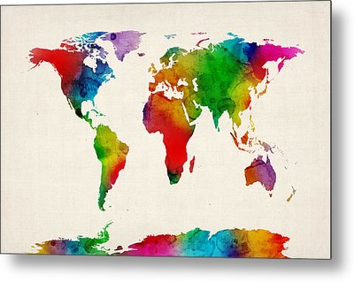 Metal Print featuring the digital art Watercolor Map Of The World Map by Michael Tompsett