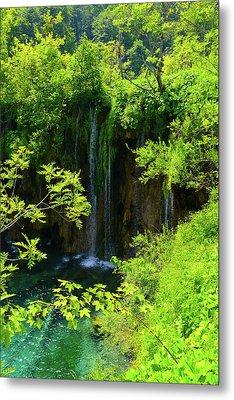 Waterfall In Plitvice National Park In Croatia Metal Print