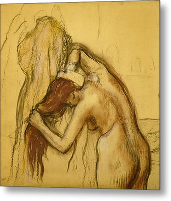 Woman Drying Herself Metal Print