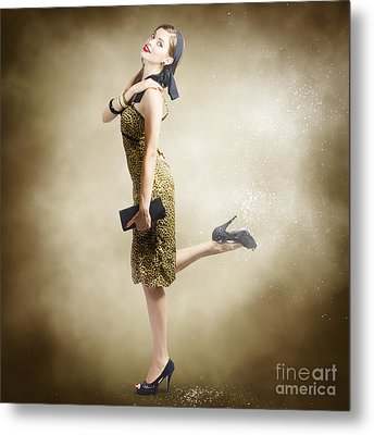 80s Pinup Woman Kicking Up Dust And Sand Metal Print by Jorgo Photography - Wall Art Gallery