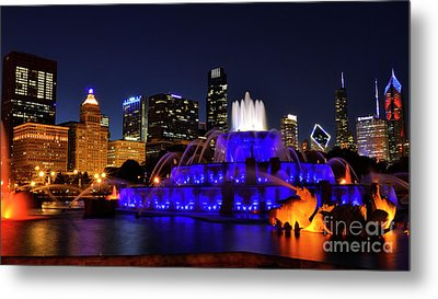 Metal Print featuring the photograph 911 Tribute At Buckingham Fountain, Chicago by Zawhaus Photography