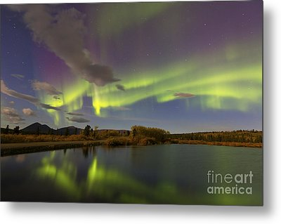 Aurora Borealis With Moonlight At Fish Metal Print by Joseph Bradley