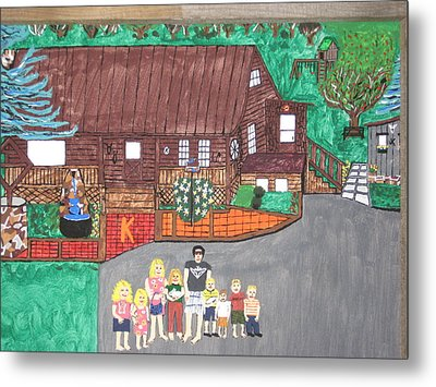 Metal Print featuring the painting 9 Grand Kids by Jeffrey Koss