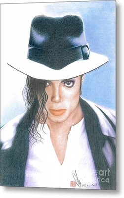 Metal Print featuring the drawing Michael Jackson #three by Eliza Lo