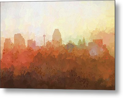 Metal Print featuring the digital art San Antonio Texas Skyline by Marlene Watson