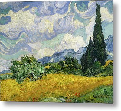 Metal Print featuring the painting Wheat Field With Cypresses by Vincent van Gogh