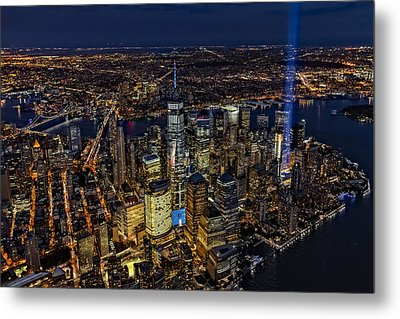 911 Tribute In Light In Nyc Metal Print by Susan Candelario