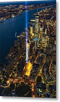 911 Tribute In Light Nyc Aerial View Metal Print by Susan Candelario