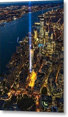 911 Tribute In Light Nyc Aerial View Metal Print