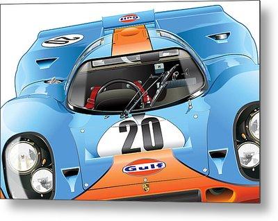 Porsche 917 Illustration Metal Print by Alain Jamar