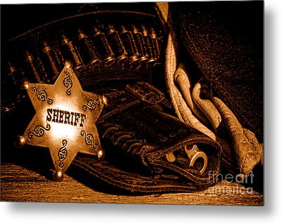 A Badge And A Weapon - Sepia Metal Print