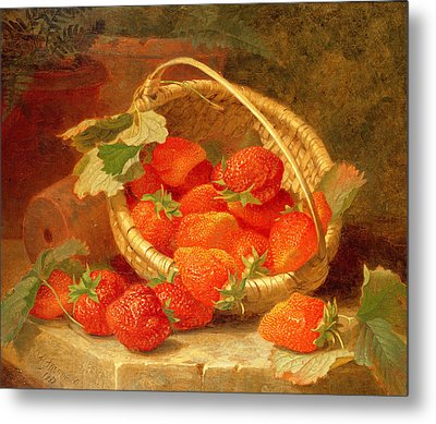 A Basket Of Strawberries On A Stone Ledge Metal Print