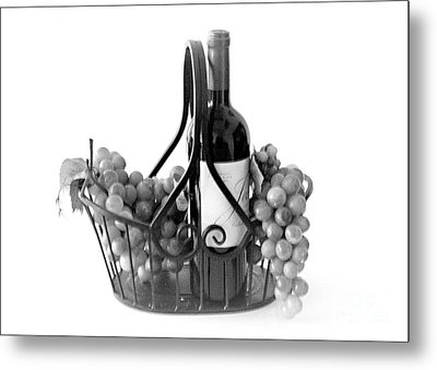 A Basket Of Wine And Grapes Metal Print