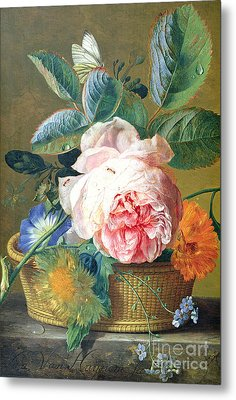 A Basket With Flowers Metal Print