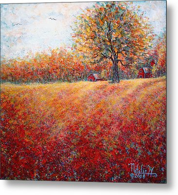 Metal Print featuring the painting A Beautiful Autumn Day by Natalie Holland
