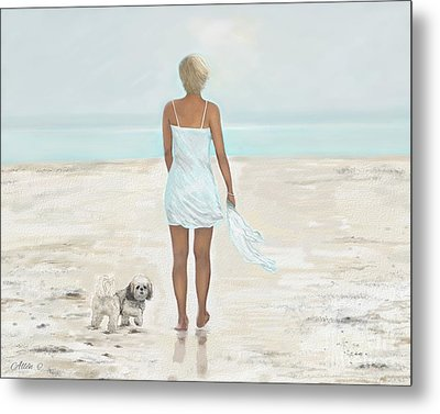Metal Print featuring the painting A Beautiful Walk by Leslie Allen