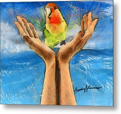 A Bird In Two Hands Metal Print by Anthony Caruso