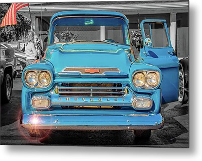 A Blue Chevy In The Sun Metal Print by Guy Whiteley