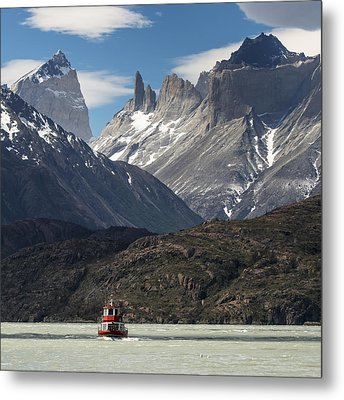A Boat On Grey Lake, Torres Del Paine Metal Print by Keith Levit