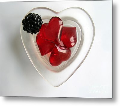 Metal Print featuring the photograph A Bowl Of Hearts And A Blackberry by Ausra Huntington nee Paulauskaite