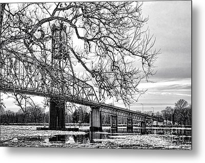 A Bridge In Winter Metal Print by Olivier Le Queinec