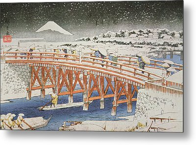 A Bridge In Yedo With Mount Fuji In The Background Metal Print