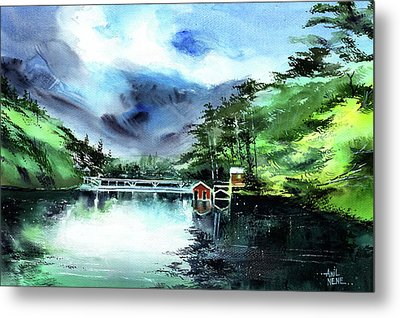 Metal Print featuring the painting A Bridge Not Too Far by Anil Nene