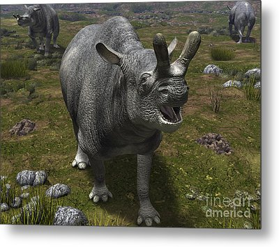 A Brontotherium Leaves His Forest Metal Print by Walter Myers