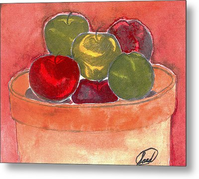 Metal Print featuring the painting A Bucket Full Of Apples by Saad Hasnain