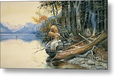 A Camp Site By The Lake Metal Print by Charles Marion Russell