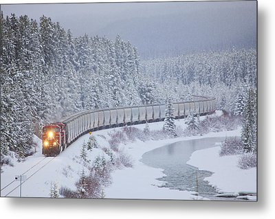 A Canadian Pacific Train Travels Along Metal Print