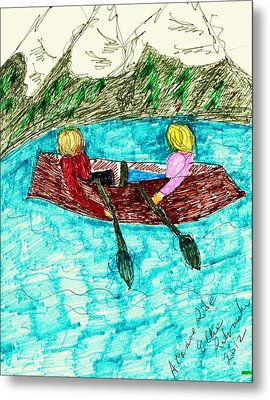 A Canoe Ride Metal Print by Elinor Rakowski