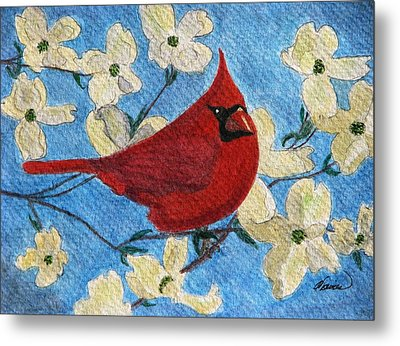 Metal Print featuring the painting A Cardinal Spring by Angela Davies