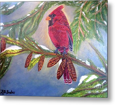 Metal Print featuring the painting A Cardinal's Sweet And Savory Song Of Winter Thawing Painting by Kimberlee Baxter