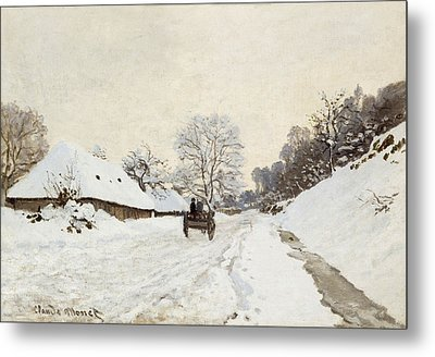 A Cart On The Snowy Road At Honfleur Metal Print by Claude Monet